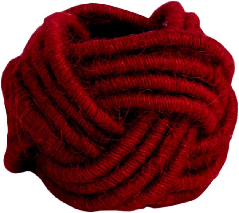 Red, 6 Kaizen Casa Set of 6 Classic Braided Jute Burlap Napkin Rings