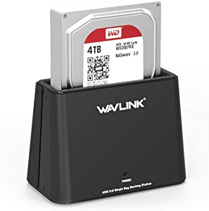 WAVLINK USB 3.0 to SATA External Hard Drive Docking Station for SATA I/II/III 2.5 inch/3.5 Inch HDD,SSD with UASP (6Gbps), Support Backup and Auto Sleep Function [ 10TB ],Tool-Free
