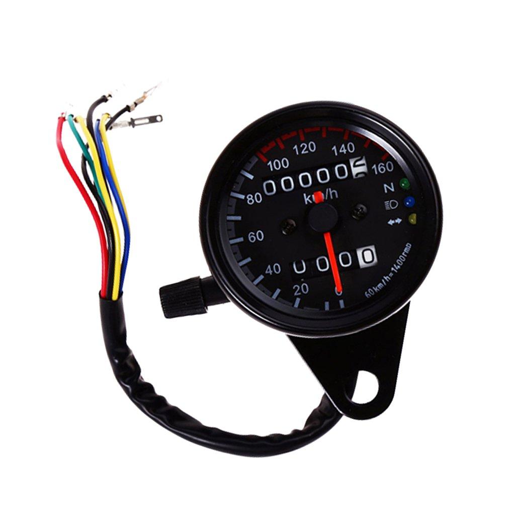 MagiDeal Motorcycle Dual Odometer KMH Speedometer Gauge LED Backlight 12V Indicator Light (Head Lamp, Neutral Lamp, Turn Signal Light) - Black non-brand