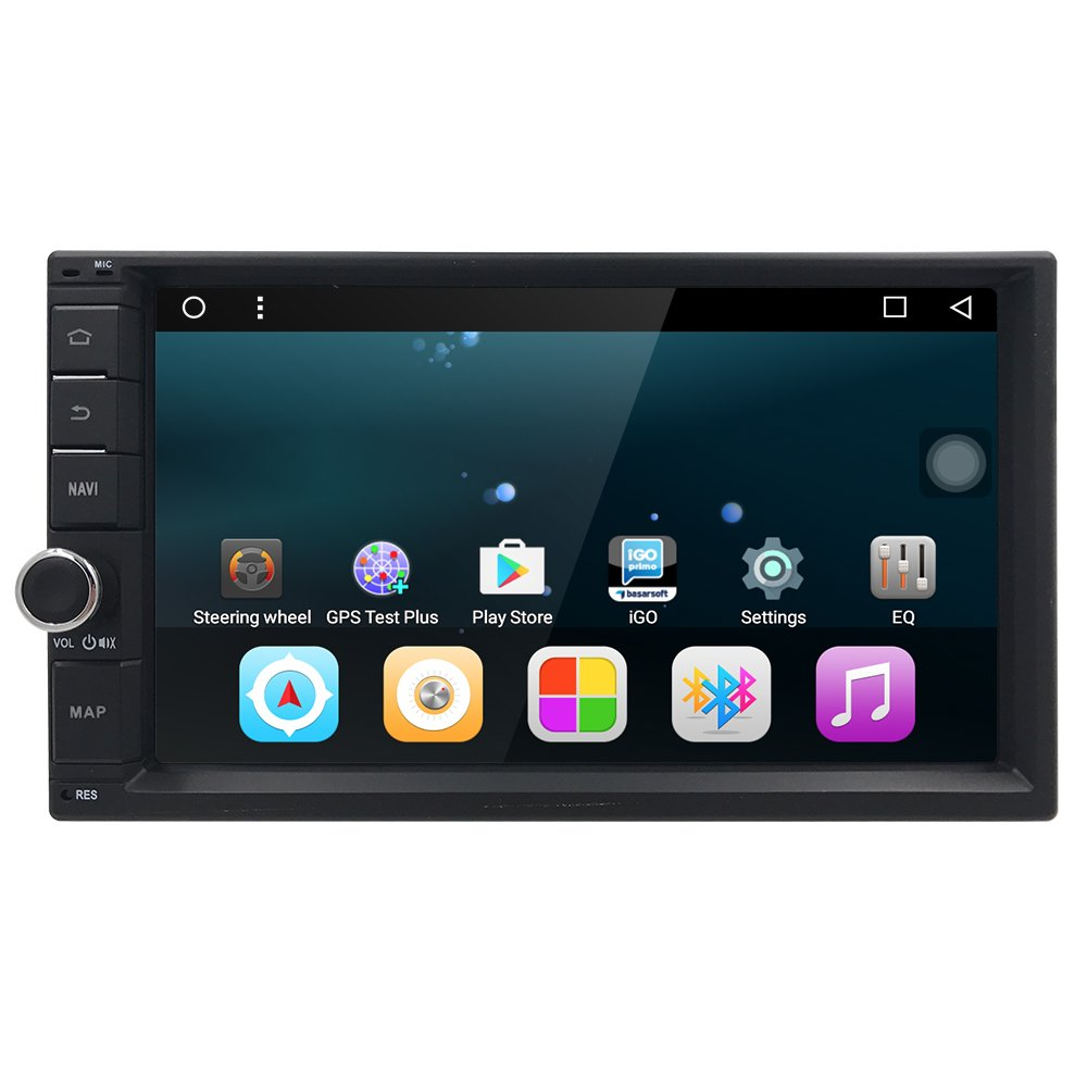 HIZPO Universal Android 6.0 Car in Dash Stereo, Bluetooth for Hands Free Calling, GPS Navigation Multi-Media Player, USB SD 3G WIFI OBD2 CAM-IN Phone Mirror, Subwoofer Audio Output