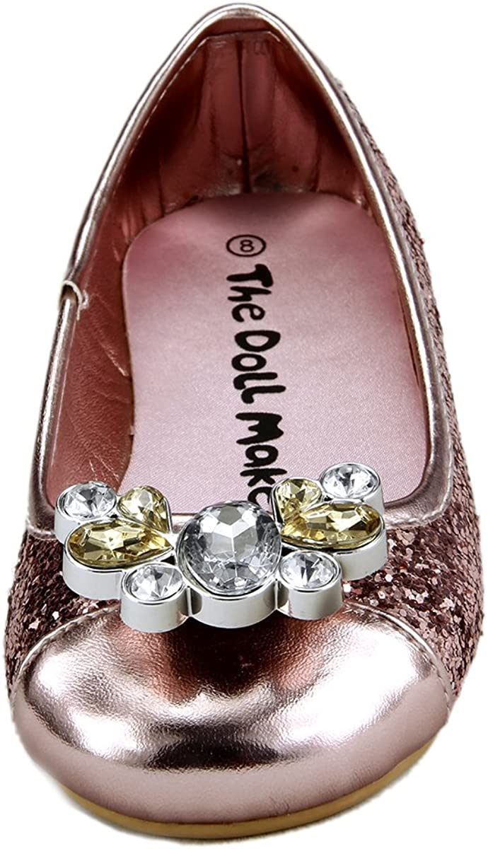 12, GLITTER PINK Girls Glitter Dress Shoes with Top Rhinestone Bow Toddler To Little kids size