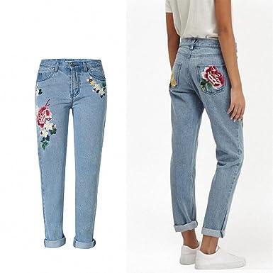 HUANLES jeans with embroidery Mom Jeans Pantalon Femme Flower Denim jeans  female Boyfriend For Women Bleached b1973be3b152