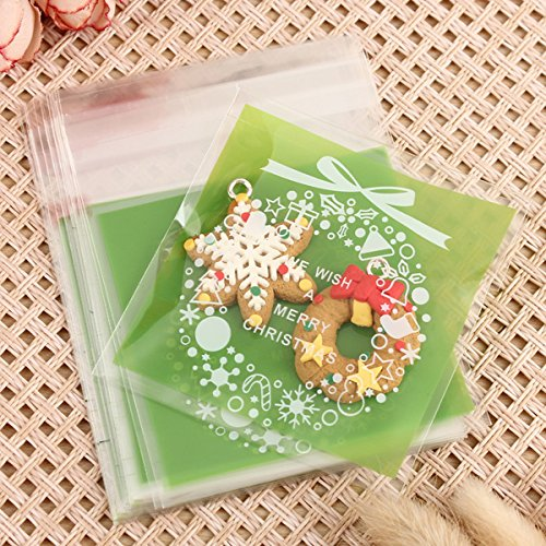 [X'mas Christmas Cookie Candy Party Gift Bags with Self-Adesive, Pack of 100, Green Color.] (Homemade Gingerbread Costumes)