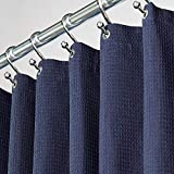 MDesign Extra Long Hotel Quality Polyester Cotton Blend Fabric Shower Curtain Rustproof Metal Grommets