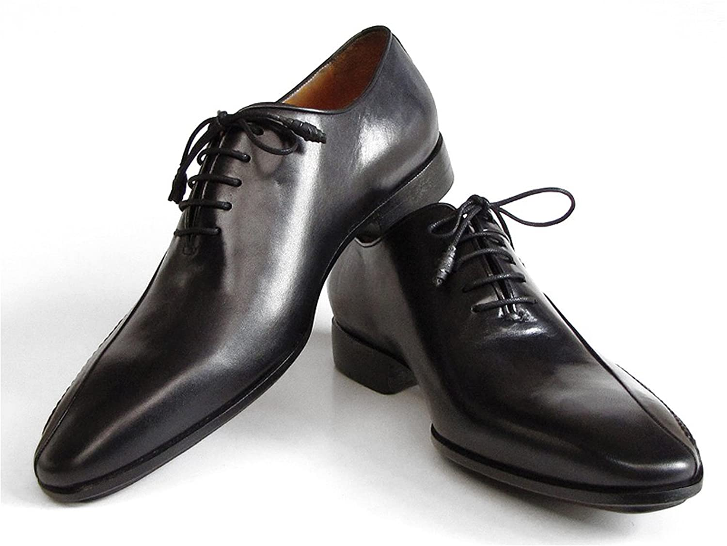 Paul Parkman Men's Black Leather Oxfords - Finest Italian calfskin - Side  Handsewn Leather Upper and Leather Sole: Amazon.co.uk: Shoes & Bags