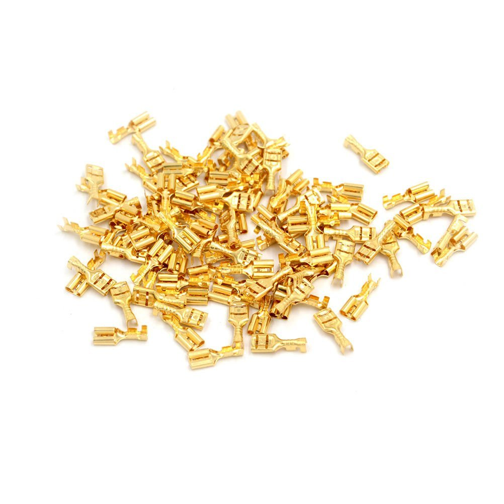 FidgetFidget Car Speaker Female Spade Terminal Wire Connector TSUS 100 Pcs 4.8mm Gold Brass