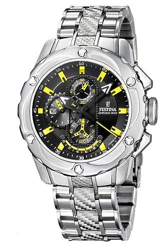 Festina F16381/2 - Reloj cronógrafo de caballero de cuarzo con correa de acero inoxidable plateada (cronómetro) - sumergible a 100 metros: Amazon.es: ...