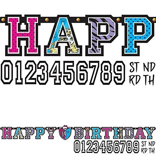 Monster High Kids Birthday Party Jumbo Add An Age Letter Banner 10 Ft. (1ct) ()
