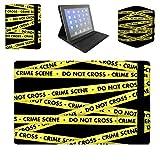 Queen of Cases Folio Case for Apple iPad Mini 2 & 3 Flip Cover - Crime Scene Tape - Premium black Case