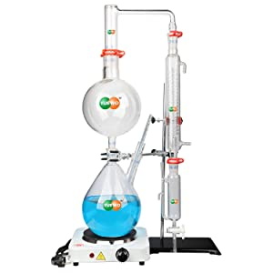 AnBt 2L Lab Glassware Essential Oil Extraction Distillation Apparatus Water Distiller Purifier with Hot Plate Condenser S35 & 24 or 40 Joint