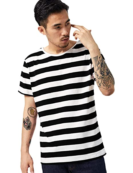 b997ea7a1f50f9 Zbrandy Striped T Shirt for Men Sailor Tee Horizontal Stripes Prisoner  Costume Black M