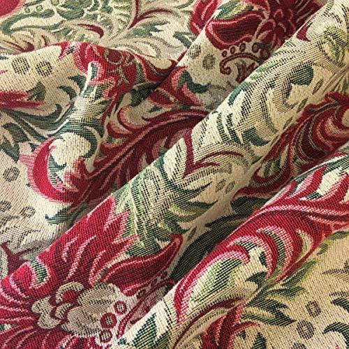 Tela de tapicería – Retal de 100 cm Largo x 280 cm Ancho | Damasco - Rojo, Verde, Beige