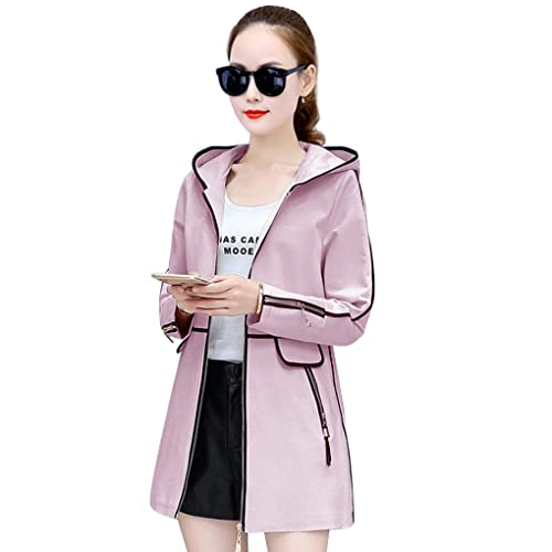 Coat Outwear Women Slim Medium Long Jackets Windbreaker Basic Thin Hoodie Zipper Automn Winter Casual Cardigans Overcoat Minzhi