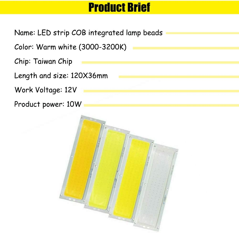 12V 10W 300LM LED Strip Bar COB Light Lamp Bulb 120x10mm White//Warm White B3