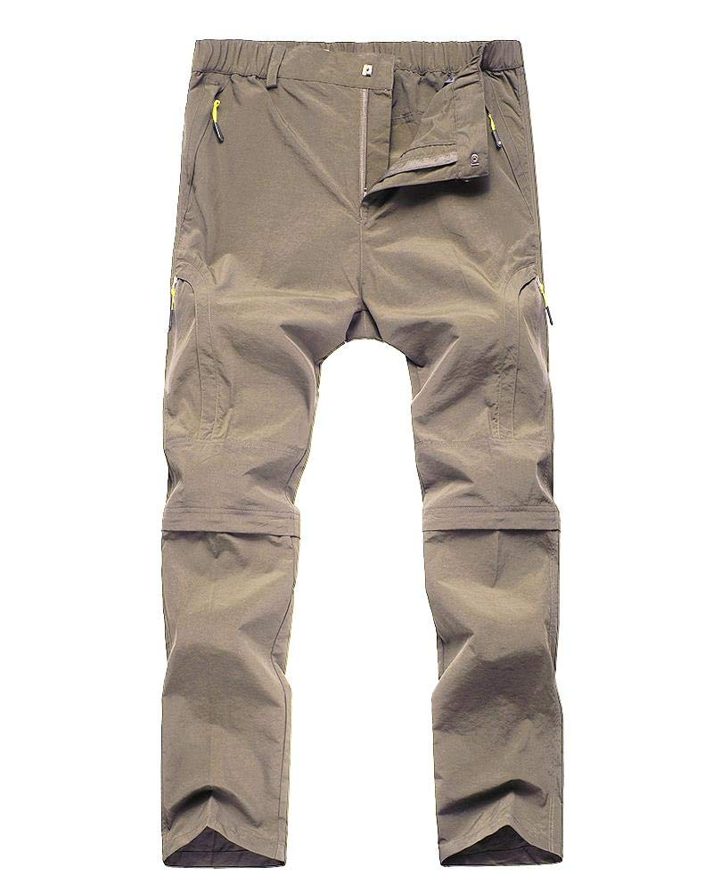 Kids Young Girl's Quick Drying Convertible Pants, Athletic Lightweight Outdoor Hiking Shorts, Travel Cargo Fishing Trousers,9017,Khaki XL,18-20 Years by Toomett