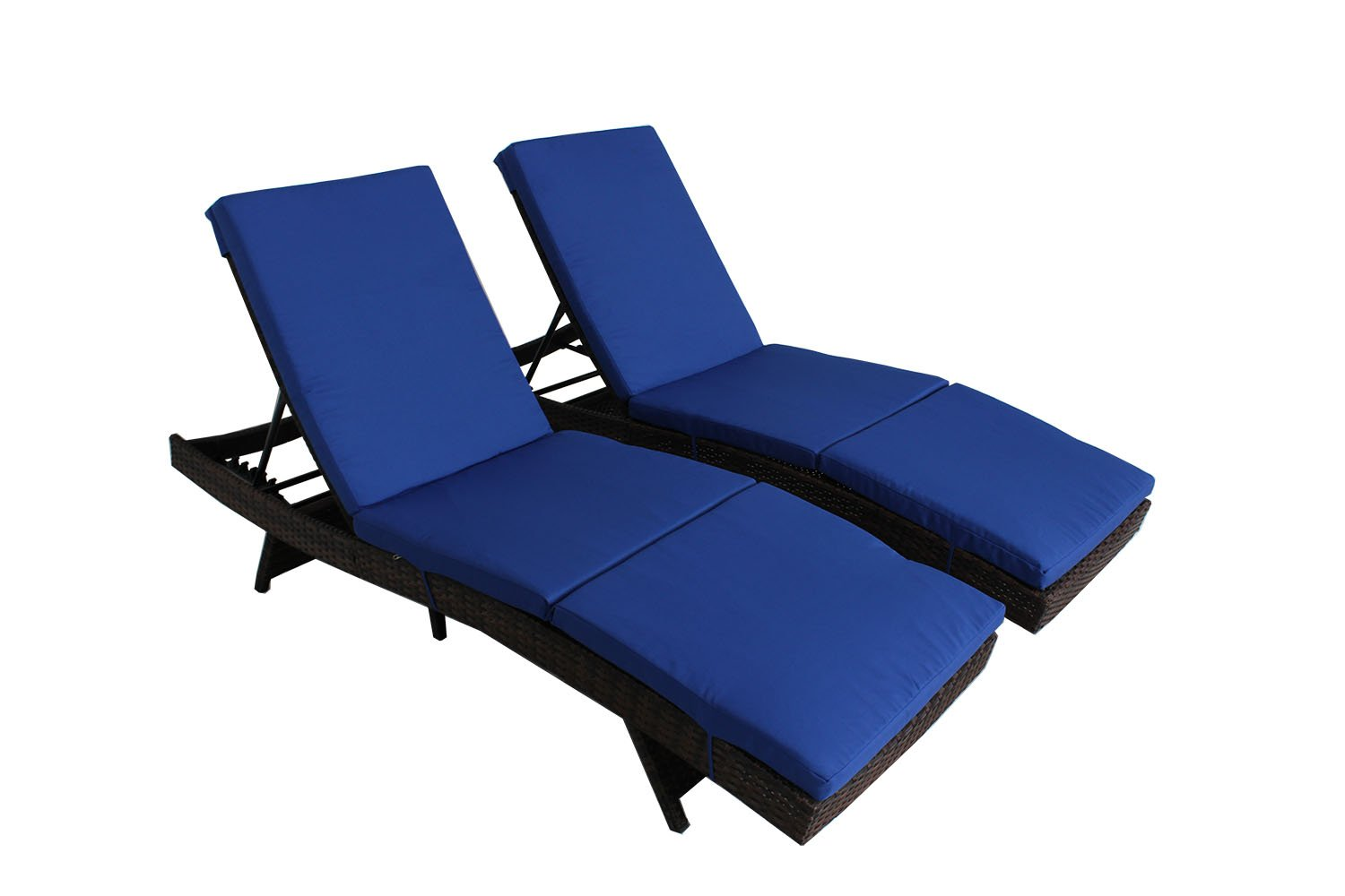 Outime Patio Furniture Chair Brown PE Rattan Wicker Adjustable Backrest Cushioned Chaise Lounge Deck Pool Chair(Royal Blue Cushions,Set of 2)