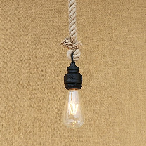 CGJDZMD Industrial Retro Hand-Woven Hemp Rope Single Head Pendant Light Steampunk Wrought Iron Ceiling Hanging Lamp Clothing Store Restaurant Bar Decoration Chain Adjustable Chandelier (Best Punk Clothing Stores)