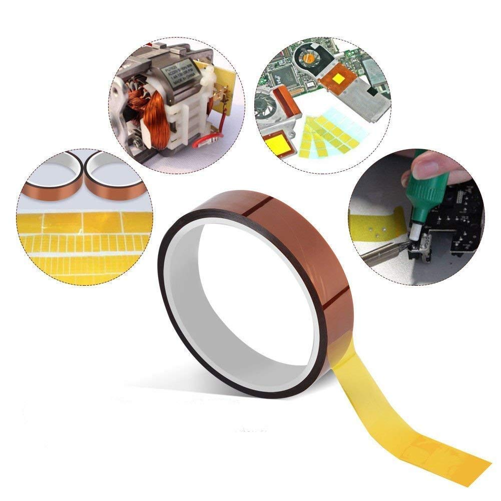 Soply 2 Rolls High Temperature Heat Resistant Tape Sublimation Dye Mug Electronic Polyimide Tape 7mm