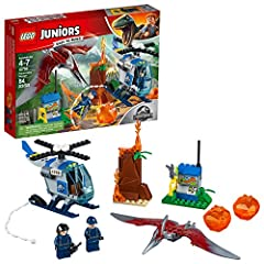 Introduce your child to the excitement of exploring in a LEGO Juniors/4+ adventure with this 10756 Pteranodon Escape starter set, featuring an Easy to Build helicopter model with a Starter Brick chassis and spinning rotor, small volcano with ...