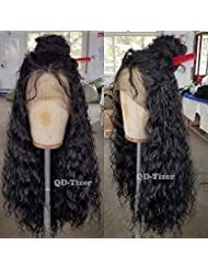QD-Tizer 180 Density Long Loose Curly Synthetic Lace Front Wigs Black Color Hair for
