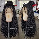 QD-Tizer 180 Density Long Loose Curly Synthetic Lace Front Wigs Black Color Hair