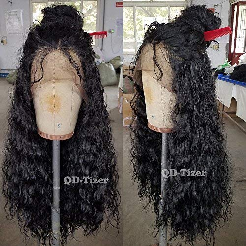 QD-Tizer 180 Density Long Loose Curly Synthetic Lace Front Wigs Black Color Hair for Fashion -