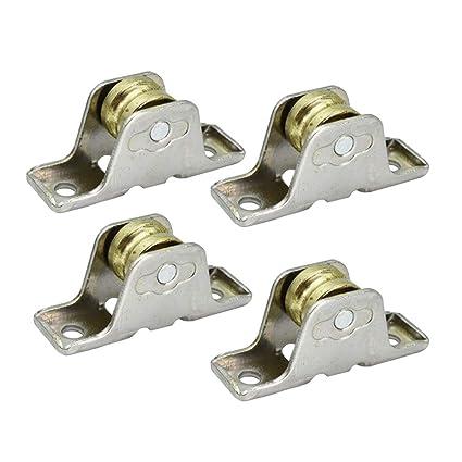 Yardwe 4 Unids Rueda de Rodillo de Metal Rodamientos Únicos Cortina de Ventana Rodillos de Rod