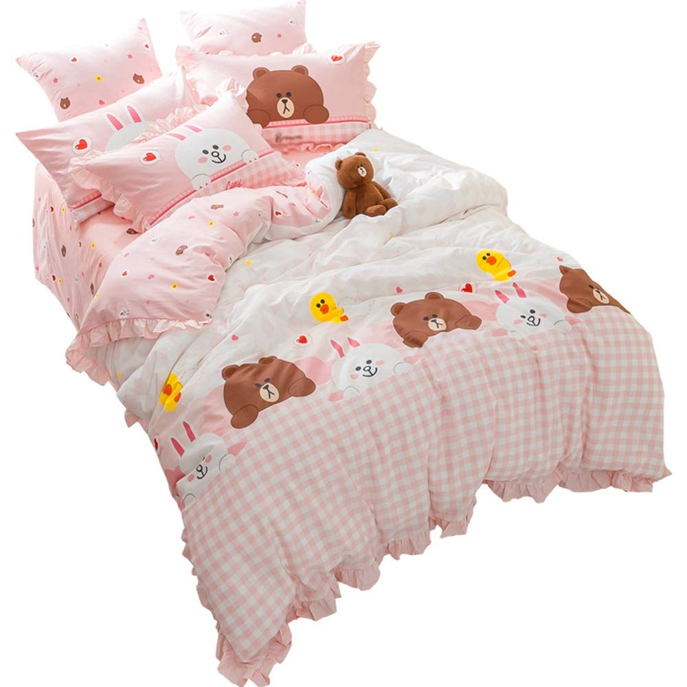 100% Cotton Quilt Cover and Pillowcase 4-in-1 Set - Bedding Set - Cute Rabbit Pattern Background - Double Single Bed Quilt Cover (Size : 1.5m)
