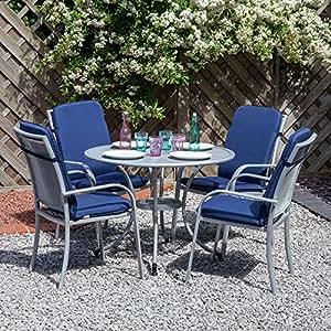 Garden Patio Miami Silver Aluminium Round Furniture Set for 4 - Blue