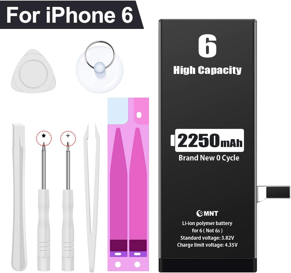 EMNT Battery Compatible with iPhone 6-2250 mAh High Capacity A1549/A1586/A1589 Battery Replacement 【2020 New Version】 with Repair Tool Kits and Instructions【2 Years Warranty】