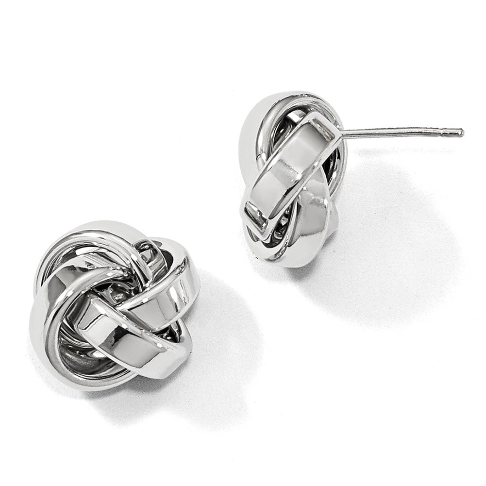 Leslies 14k White Gold Polished Love Knot Post Earring LE1445