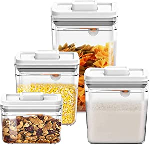 Vencer 4pc Airtight Food Storage Container Set,POP UP SET Square Clear with Silicone Seal Lids and Spoon,for Cereal, Snacks, Flour, Sugar - 1Qt/1.8Qt/1.8Qt/2.4Qt