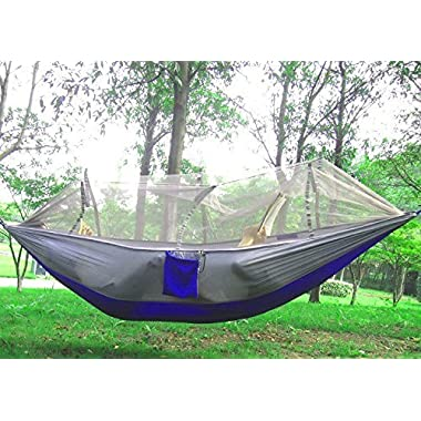 Camping Hammock, Mosquito Net Hammock Bed Widened Parachute Fabric Double Hammock, Ultralight & Quality Comfort for Camping, Hiking, Travel, Outdoors and Backpacking (Gray+Blue)
