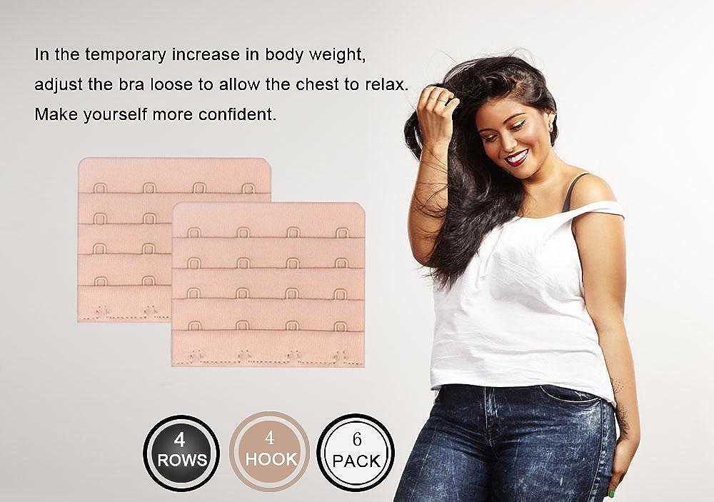 Womens Bra Extenders 4 Hook for Plus Size Bras Extenders Bra Strap Extensions Beige 8004-4R4h3N