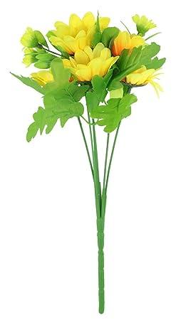 niceeshop(TM) Ramos de Flores de Girasol Lindo de Artificial para la Decoración del Hogar Oficina, Amarillo y Verde: Amazon.es: Hogar