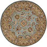 Safavieh Heritage Collection HG958A Handmade Traditional Oriental Blue and Gold Wool Round Area Rug (6' Diameter)