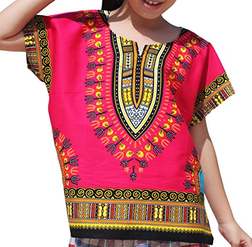 RaanPahMuang Unisex Bright Africa Colour Children Dashiki Cotton Shirt, 6-8 Years, Cerise Pink