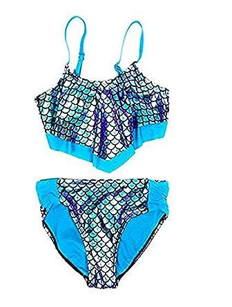 6f177e08f1b Justice Girls Swimwear Mermaid Scales Flounce Bikini 2 Pieces Blue Hawaii  (6)