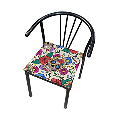 "Bardic HNTGHX Outdoor/Indoor Chair Cushion Sugar Skull Flower Pattern Square Memory Foam Seat Pads Cushion for Patio Dining, 16"" x 16"": Home & Kitchen"