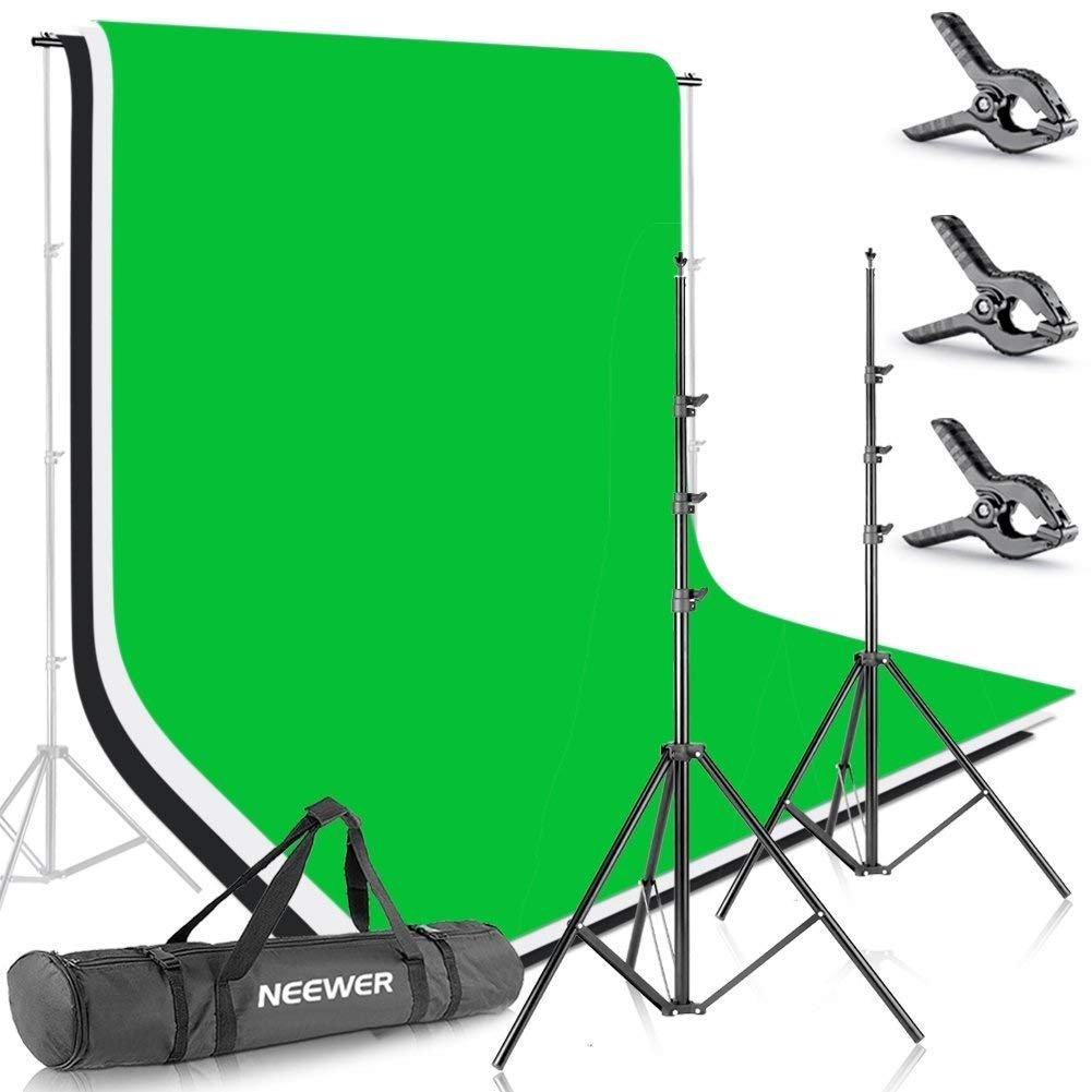 Neewer フォトスタジオ用2.6x3M背景スタンドサポートシステム 1.8x2.8M背景布(白/黒/緑)付き ポートレート、商品撮影、ビデオ撮影に対応 2.6x3m-白/黒/緑  B07FNM97WP