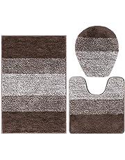Falflor 3 Pieces Shaggy Microfiber Bath Mat Sets Anti-Slip Absorbent Rectangular Bathroom Mat and U-Shaped Contour Rug and Toilet Lid Cover Comfortable Bathroom Rug Sets for Bathroom