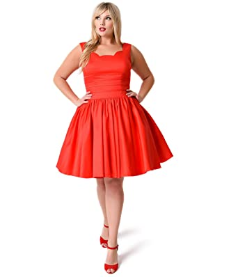 Unique Vintage Plus Size Roman Holiday Red Scalloped Swing Dress At
