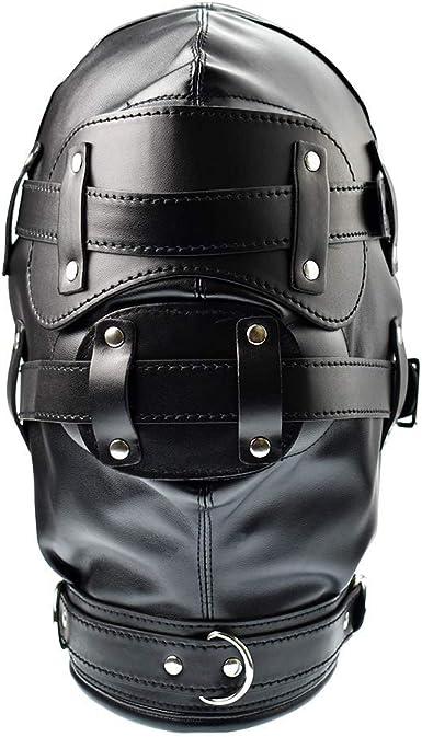 Carinloing Leather Leather Costume Masquerade Mask Hood Eye Mouth Mask Unisex Hood Breathable Lace Up Mask Black