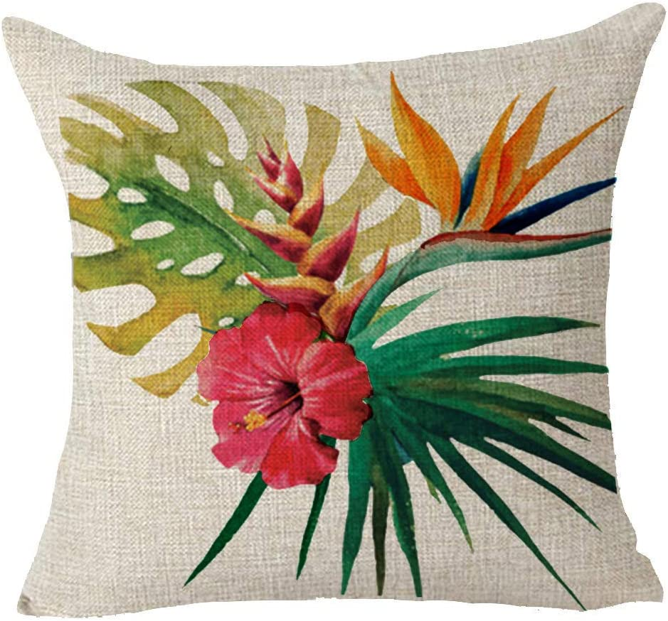 Amazon Com Queen S Designer Hand Painted Tropical Red Flowers Gift Cotton Linen Decorative Throw Pillow Case Cushion Cover Square 18 X18 Home Kitchen