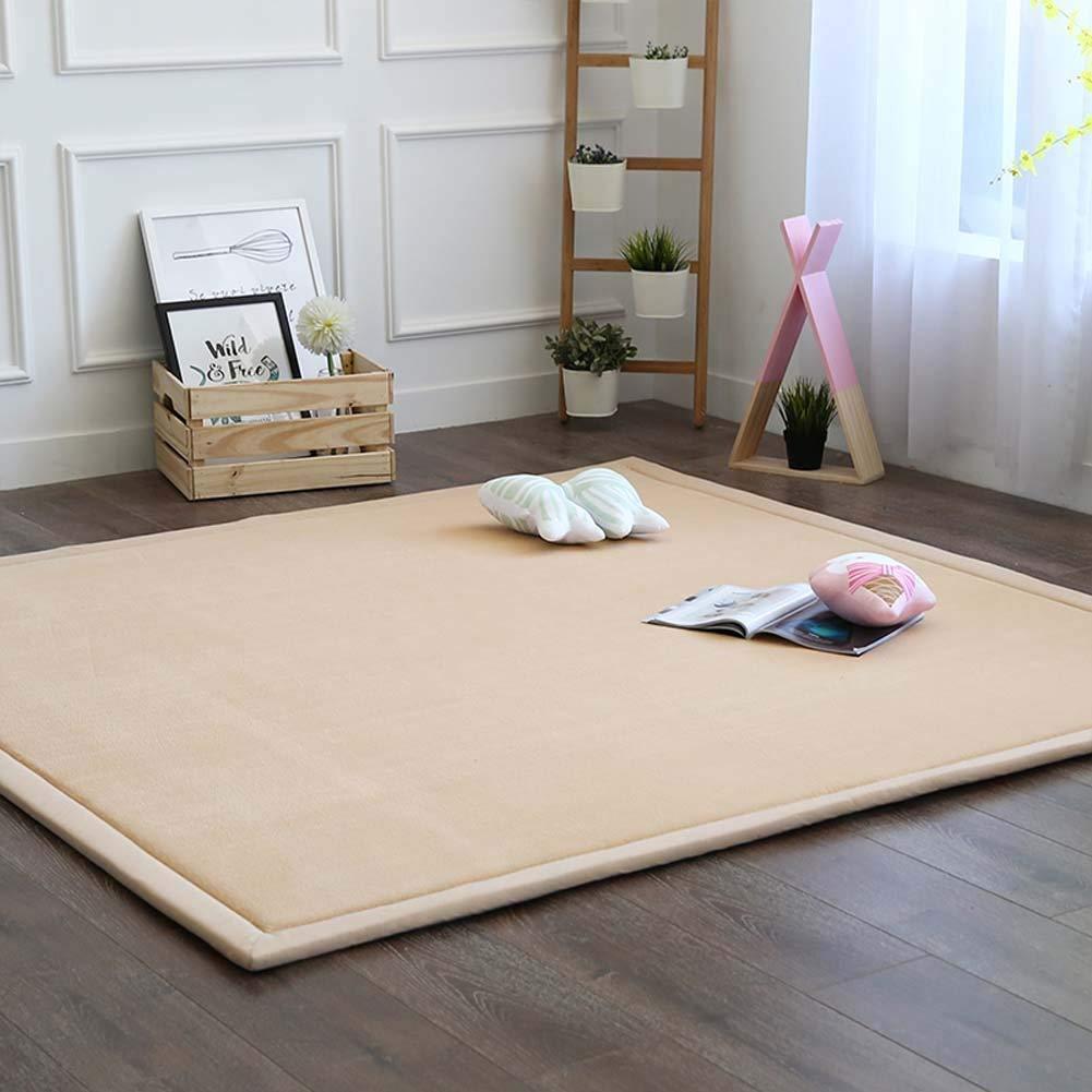 Blivener Coral Velvet Tatami Rugs Children Play Mat Thick Soft Nursery Rug Protect Carpets Crawling Mat for Living Room Babys Bedroom Blue 100 x 200 cm
