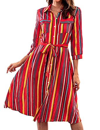 43fbba9ae46 FANCYINN Womens Casual Striped Button Down 3 4 Sleeve Midi Belted Shirt  Dress Z1 M at Amazon Women s Clothing store