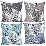 Decorative Pillow Cover - HOSL P112 4-Pack Beautiful Fashionable Design Square Decorative Throw Pillow Case Cushion Cover Tree Pattern (Set of 4)