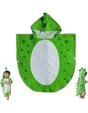 Children Bath Towel Baby Bathrobe Cotton Dinosaur Pattern Kids Robe Beach Swimming Hooded Poncho (Green)