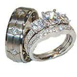 His Hers 3 Piece 925 Sterling Silver & Titanium Wedding Ring Set