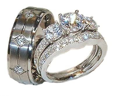 his hers 3 piece 925 sterling silver titanium wedding ring set womens 10 mens - 3 Piece Wedding Ring Set